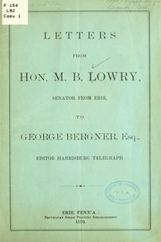 Cover of: Letters from Hon. M. B. Lowry