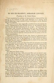 Cover of: [Letter] to his excellency, Abraham Lincoln, President of the United States