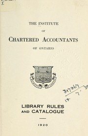 Cover of: Library rules and catalogue | Institute of Chartered Accountants of Ontario