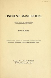 Cover of: Lincoln's masterpiece