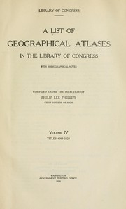 Cover of: A list of geographical atlases in the Library of Congress