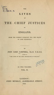 Cover of: The lives of the chief justices of England ...