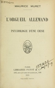 Cover of: L'orgueil allemand