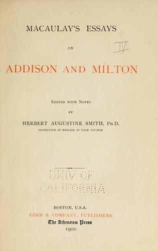 pdf epub txt books written by thomas babington macaulay  macaulay s essays on addison and milton