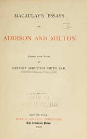 Cover of: Macaulay's Essays on Addison and Milton