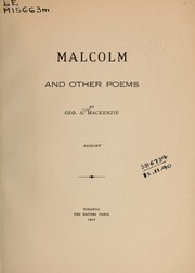 Cover of: Malcolm and other poems