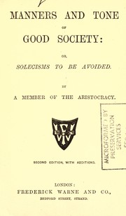 Cover of: Manners and tone of good society | A member of the aristocracy