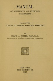 Cover of: Manual of references and exercises in economics for use with volume II