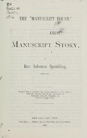 "Cover of: The ""Manuscript Found"""