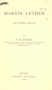Cover of: Martin Luther, and other essays | Hedge, Frederic Henry