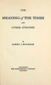 Cover of: The meaning of the times