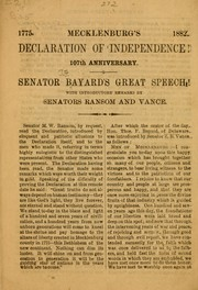 Cover of: Mecklenburg's declaration of independence!