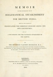 Cover of: Memoir of the expediency of an ecclesiastical establishment for British India
