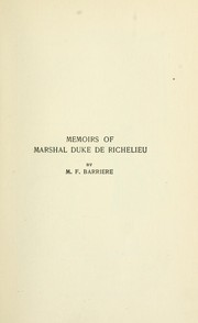 Cover of: Memoirs of Duke de Richelieu