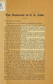 Cover of: The memorial of S. A. Ashe to the General assembly