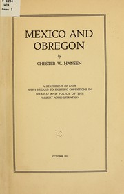 Cover of: Mexico and Obregon