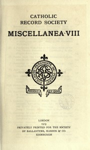 Cover of: Miscellanea VIII by Catholic Record Society. (Great Britain)