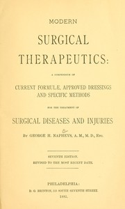 Cover of: Modern surgical therapeutics