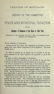 Cover of: Taxation of mortgages | New York (State) Chamber of commerce of the state of New York. Committee on state and municipal taxation