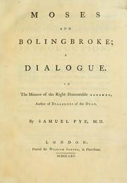 Cover of: Moses and Bolingbroke | Samuel Pye