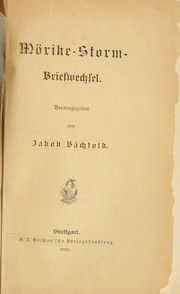 Cover of: Mörike-Storm-Briefwechsel