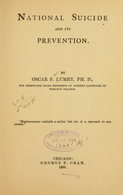 Cover of: National suicide and its prevention. | Oscar F. Lumry