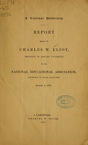Cover of: A National University. | Charles William Eliot