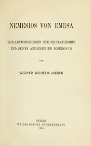 Cover of: Nemesios von Emesa