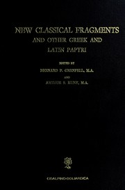 Cover of: New classical fragments and other Greek and Latin papyri