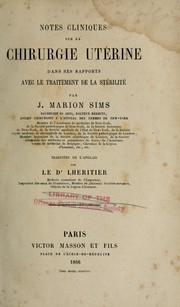 Cover of: Notes cliniques sur la chirurgie utérine