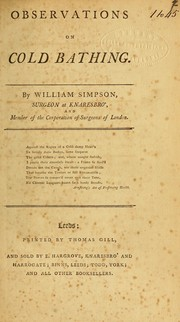 Cover of: Observations on cold bathing | Simpson, William Surgeon, of Knaresborough