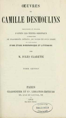 Oeuvres by Camille Desmoulins
