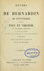 Cover of: Oeuvres choisies de Bernardin de Saint-Pierre