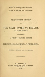 Cover of: The official record of the State Board of Health of Massachusetts
