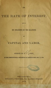 Cover of: Of the rate of interest