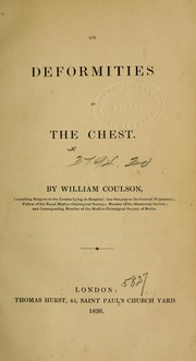 Cover of: On deformities of the chest | William Coulson