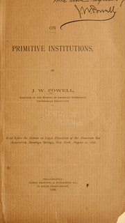 Cover of: On primitive institutions