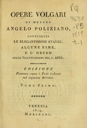 Cover of: Opere volgari di Messer Angelo Poliziano