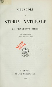 Cover of: Opuscoli di storia naturale