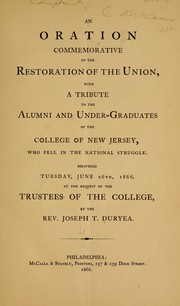 Cover of: An oration commemorative of the restoration of the Union