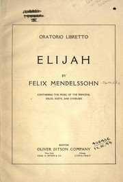 Cover of: Oratorio libretto, Elijah