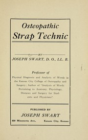 Cover of: Osteopathic strap technic | Joseph Swart