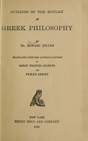 Cover of: Outlines of the history of Greek philosophy | Eduard Zeller
