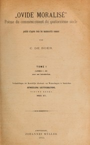Cover of: Ovide moralisé by Boer, C. de