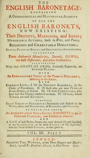 Cover of: The English baronetage
