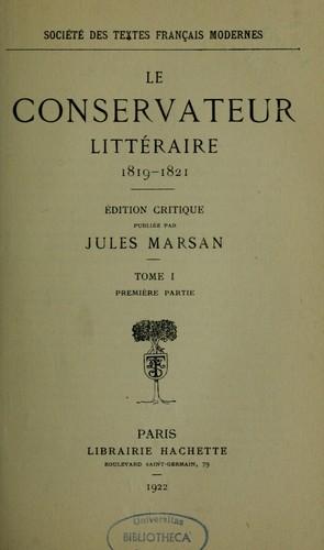 le conservateur litt raire 1819 1821 open library