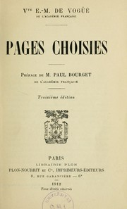 Cover of: Pages choisies