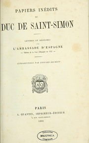 Cover of: Papiers inédits du duc de Saint-Simon