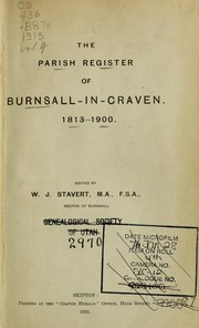 Cover of: The parish register of Burnsall-in-Craven by Burnsall (England). (Parish)