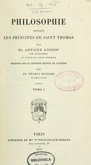 Cover of: Philosophie suivant les principes de saint Thomas